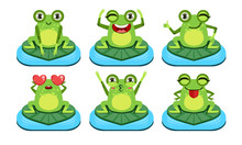 Funny Frog Characters Set, Cute Amphibian In Different Activities Vector Illustration