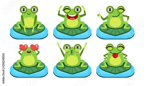 Śmieszni żaba charaktery Ustawiający, Śliczna płazy w Różnej aktywność wektoru ilustraci