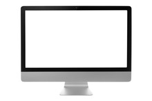 Computer Monitor With Black Screen Isolated On White Background With Clipping Path