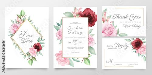 Elegant Flower Wedding Invitation Card Template Set With