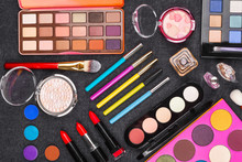 Diversity Of Various Decorative Cosmetics Including Lipstick Eye Pencil, Powder, Eyeshadow, Mascara And Perfumes. Concept Of Professional Makeup