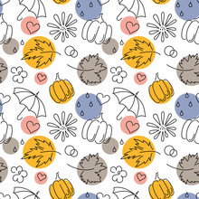 Autumn. Fall. Cute Vector Seamless Pattern With Autumn Maple Leaves,flowers, Pumpkins, Umbrellas