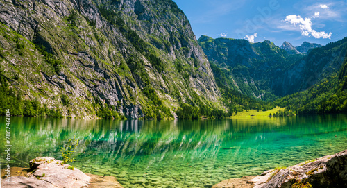 The Obersee which is behind the Königssee as a quite place for hiking and relaxing and to enjoy nature in Germany