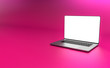 canvas print picture - Laptop template isolated on pink background. Mockup.