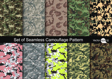 Set Of Seamless Camouflage Pat...