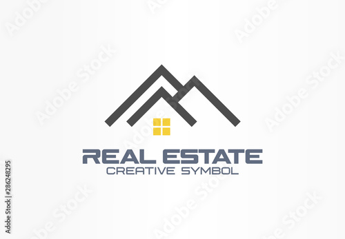 Real Estate Agent Creative Symbol Concept Roof And Light On Window Home Build Abstract Business Logo Idea Rent House Architecture Icon Corporate Identity Logotype Company Graphic Design Tamplate Buy This Stock