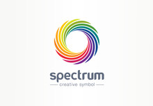 Spectrum, Spiral Rainbow Creative Symbol Concept. Swirl Palette, Sunlight Mix Abstract Business Logo Idea. Colorful Circle, Gradient Icon. Corporate Identity Logotype, Company Graphic Design Tamplate
