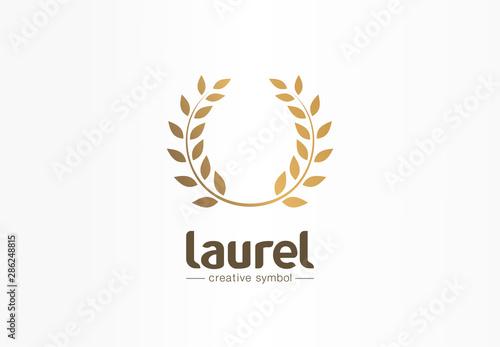 Fototapeta Golden laurel wreath creative symbol concept. Award, win, winner, success abstract business logo idea. Trophy, branch, leaf border icon. Corporate identity logotype, company graphic design tamplate obraz