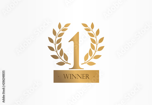 Fototapeta First place, number one, golden laurel wreath creative symbol concept. Trophy, cup abstract business logo idea. Award, win, winner icon. Corporate identity logotype, company graphic design tamplate obraz