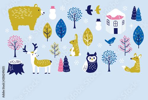 Obraz na plátně  寒中見舞い 冬の動物たち