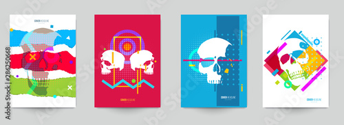 Obraz na plátně  Set of creative concept with human skull head in fashion pop art style