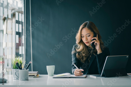 Portrait of beautiful smiling young entrepreneur businesswoman working in modern work station.