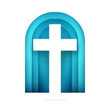 Christian Cross In Minimal Trendy Geometric Paper Cut Style. Creative Modern Religious Concept. Colorful Vector Illustration. Background For Greeting Card, Banner, Cover.