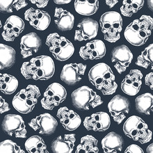 Skull Seamless Pattern. Halloween Party Wallpaper. Human Skeleton Background. Vector Illustration