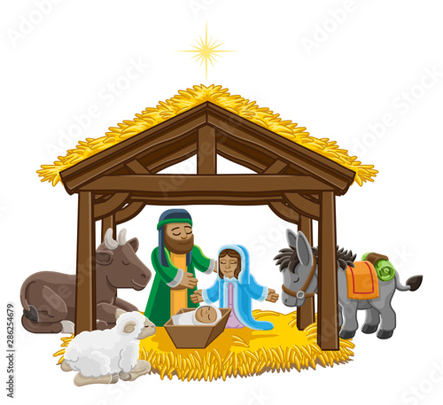 Fotografie, Obraz  A Christmas nativity scene cartoon, with baby Jesus, Mary and Joseph in the manger and donkey and other animals