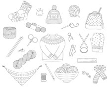 Set Of Vector Line Icons For Knitting And Crochet (yarn, Needles, Socks, Sweater, Hook And Other DIY Tools)