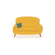 Yellow Soft Couch In Scandinav...
