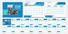 2020 Calendar Set Week Start Sunday Corporate Design Template Vector.