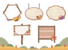 秋の紅葉とリスの木目フレームセット/もみじ、きのこ、リス、ぶどう、どんぐり、かぼちゃ、栗