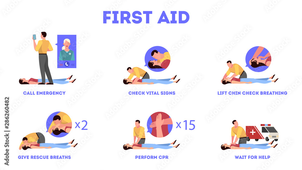 Fototapeta First aid steps in emergency situation. Heart massage or CPR