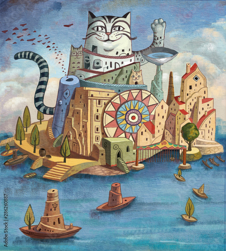 Staande foto Kasteel Ocean, sea, magic, fantasy, fantasy, dream, imagination, fairy tale, myth, children, literature and art, illustration, cat, boat, island, city, coast, port, cloud, town, house,