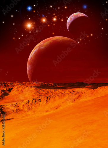 Foto auf Leinwand Violett rot alien planet with two moons