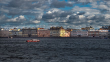 Beautiful Landscape With Floating Passenger Ship On The Neva River In St. Petersburg. Russia.