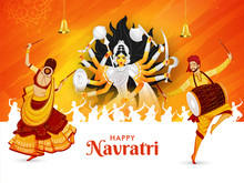 Happy Navratri Festival Celebration Poster Or Banner Design, Illustration Of Goddess Durga Maa, Woman Dancing With Dandiya Stick And Drummer Man (Dholak).