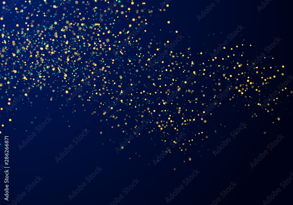 Fototapeta Abstract falling particles golden glitter lights texture on a dark blue background with lighting.