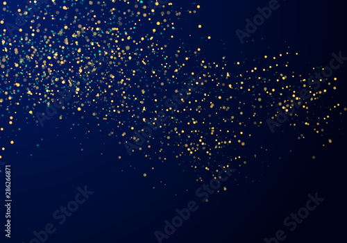 Obraz Abstract falling particles golden glitter lights texture on a dark blue background with lighting. - fototapety do salonu