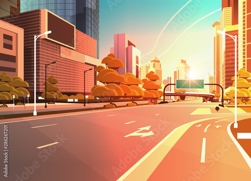 asphalt road with bike cycling lane path information banner traffic signs city skyline modern skyscrapers cityscape sunset background flat horizontal