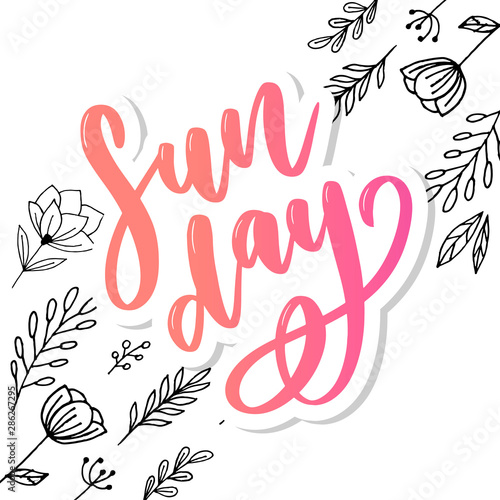 Papiers peints Positive Typography Sunday - Vector hand drawn lettering phrase. Modern brush calligraphy for blogs and social media.