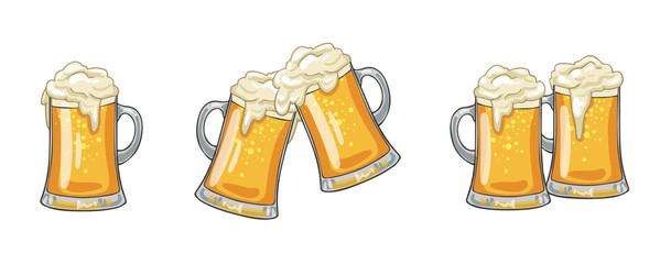 Staklene ili keramičke šalice punjene zlatnim svijetlim pivom s prelijevajućim pjenastim glavama. Izolirano na bijeloj pozadini, za amblem pivovare ili dizajn pivske zabave