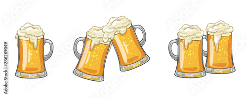 Glass or ceramic mugs filled of golden light beer with overflowing froth heads. Isolated on white background, for brewery emblem or beer party design