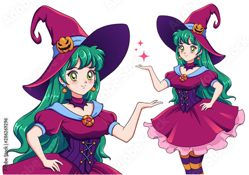 pretty-young-witch-announce-halloween-party-hand-drawn-retro-anime-girl