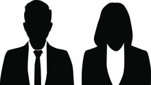 Man And Woman Silhouette Isolated On White