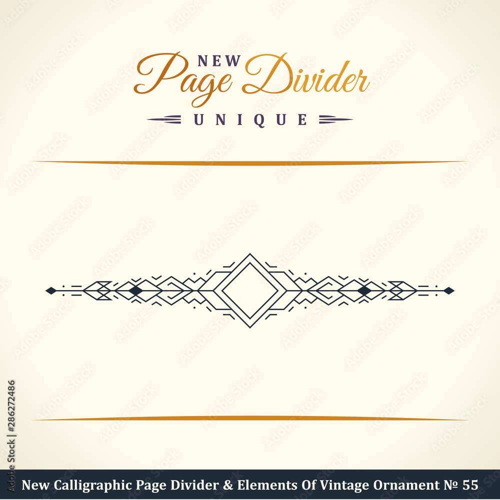 Fototapety, obrazy: New Calligraphic Page Dividers and Elements of vintage ornaments