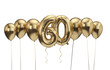 canvas print picture 60th birthday gold balloon background. Happy Birthday. 3D Rendering