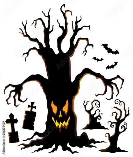 Door stickers For Kids Spooky tree silhouette topic image 1