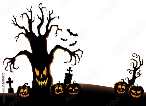 Door stickers For Kids Spooky tree silhouette topic image 2