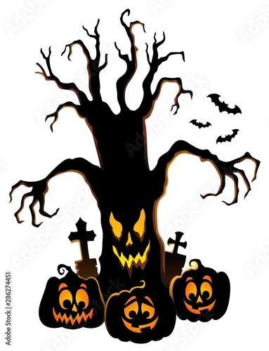 Door stickers For Kids Spooky tree silhouette topic image 4