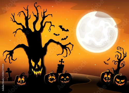 Door stickers For Kids Spooky tree silhouette topic image 3