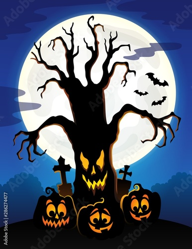 Door stickers For Kids Spooky tree silhouette topic image 5