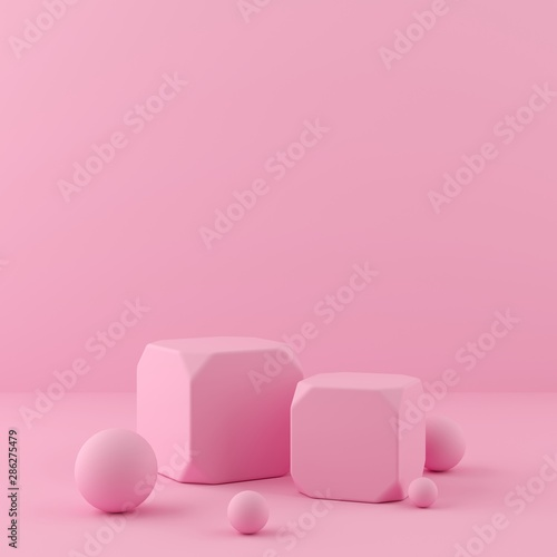 3d rendering geometry shapes mock up scene minimal concept, pink color podium and background for product or perfume Wall mural