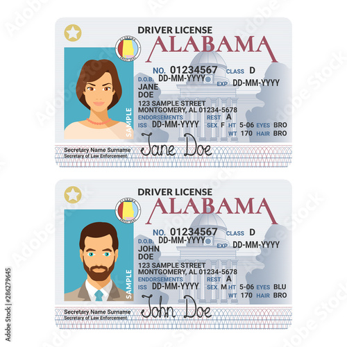 Photo Vector template of sample driver license plastic card for USA Alabama