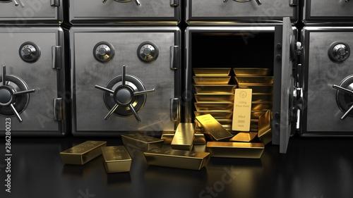 Fotografie, Obraz Safe Fine Gold Bars 1000g