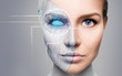Leinwandbild Motiv Cyborg woman with machine part of her face.