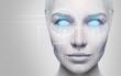 Leinwandbild Motiv Beautiful cyborg female face with blue eyes.