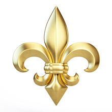 Gold Fleur De Lis Isolated On White - Heraldic Icon Concept. 3d Rendering