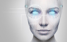 Beautiful Cyborg Female Face W...